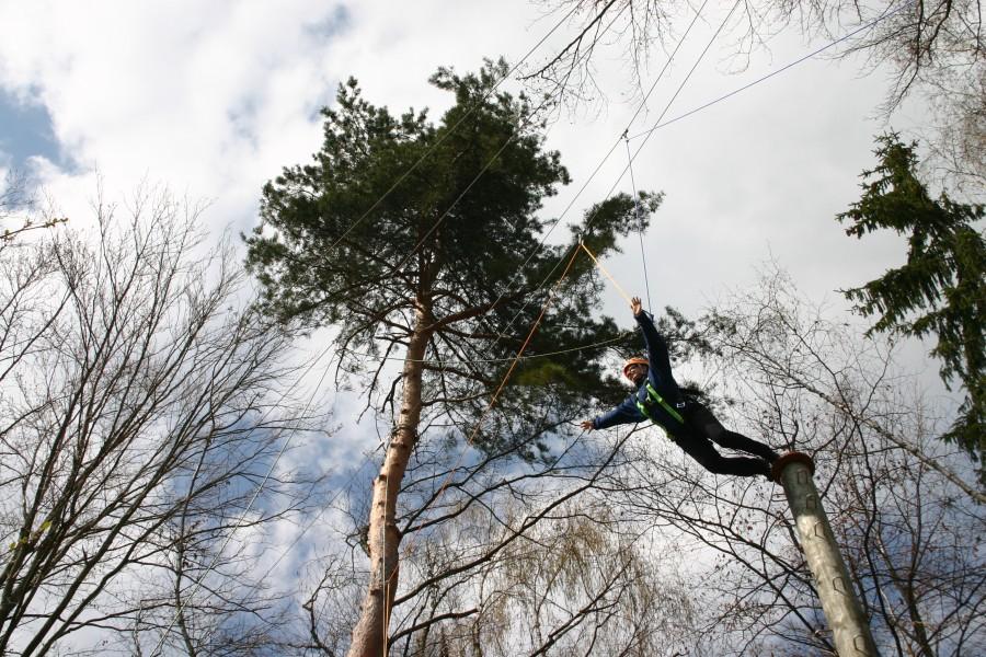 Sprung vom hohen Baumstamm, Hochseilgarten Dorf Schönleitn