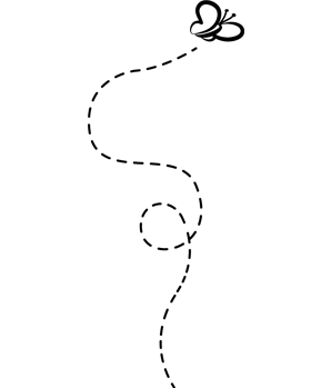Zeichnung: Schmetterling mit Flugbahn