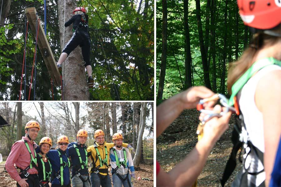 Fotocollage Hochseil Teambuilding im Naturel