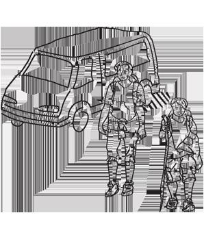 Zeichnung von Wanderern am Bus