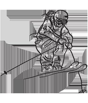 Skifahrer-Zeichnung, Hoteldorf Faaker See