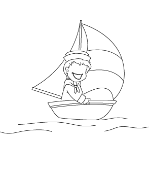 Illustration: Matrose beim Segeln