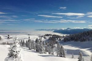 verschneite Hügel im Naturpark Dobratsch