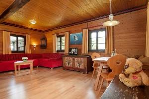 Wohnzimmer mit Fernseher und Sitzecke, Dorf Seeleitn